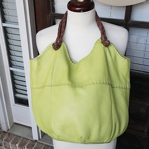 Lime Green Leather Braided Straps Large Hobo Bag